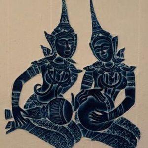 Beautiful vintage framed Thai rubbing